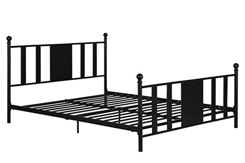 Langham Full Metal Bed / No box Spring Required / Premium Sturdy Slats w/ Rich Jet Black Finish / Full Sized Sturdy Metal Frame Weight Limit 450lb - Campus Kit Bed