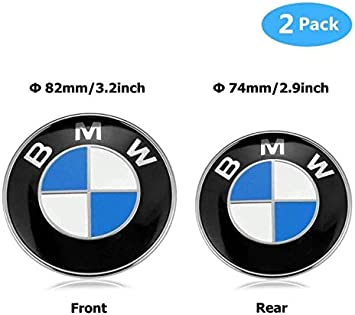 2PCS B-M-W Black and White 82mm Hood Emblem//74mm Trunk Emblem with 2 Grommets Replacement for B M W X3 X5 X6 3 4 5 6 7 8 series 325i 328i E46 E30 E36 E34 E38 E39 E60 E65 E90 Carbon fibre White Black