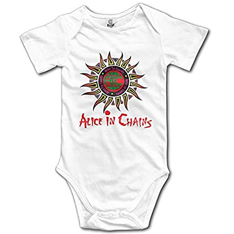 Alice In Chains Logo Baby Infant Toddler Short Sleeve Romper (Alice In Chains Button)