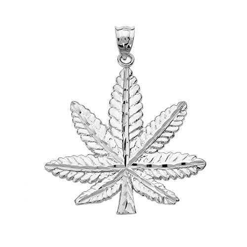 Good Luck Charms Fine 925 Sterling Silver Pot Cannabis Charm Marijuana Leaf Pendant