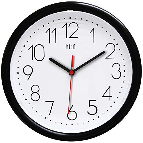 hito Silent Wall Clock Non Ticking 10 inch Excellent Accurate Sweep Movement, Decorative for Kitchen, Living Room, Bathroom, Bedroom, Office (Black)