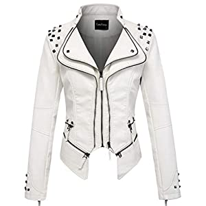 chouyatou Women's Fashion Studded Perfectly Shaping Faux Leather Biker Jacket 19