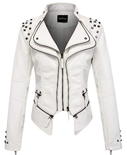 (chouyatou Women's Fashion Studded Perfectly Shaping Faux Leather Biker Jacket (Small, White) )