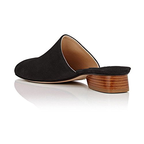 Heel Black Clogs YDN Closed Shoes Mules Women Slippers Slide Casual on Low Block Stacked Toe tznzp61Fqw
