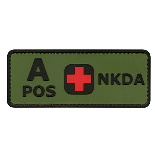 (LEGEEON Olive Drab Green OD A POS Blood Type NKDA Combat Tactical PVC Rubber 3D Touch Fastener Patch)