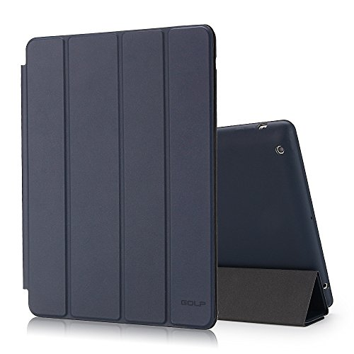 GOLP iPad 4 Case, iPad 3 Case, iPad 2 Case, iPad Protective Case Folding Lightweight iPad Bumper Cover With Sleep Wake Function And Hard Back Stand For Apple iPad 2/3/4 - Dark Blue