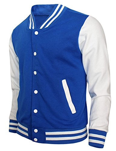 (BCPOLO Baseball Jacket Varsity Baseball Cotton Jacket Letterman Jacket 8 Colors-Blue XL US, Asian 2XL)