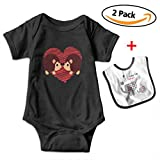 Leopoldson Funny Couple Heart Hedgehog Infant Short Sleeve Bodysuits One-Piece with Baby Bib