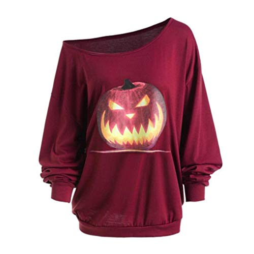 GOVOW Halloween Costumes Women Plus Size Long Sleeve Angry Pumpkin Skew Neck Tee Blouse Tops Wine Red -
