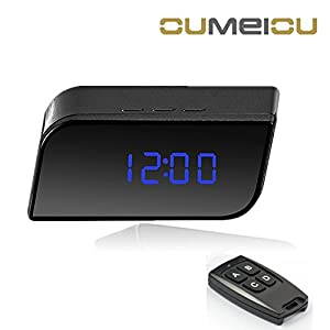Oumeiou 8GB Portable Remote Spy Hidden Camera Clock Motion Activated Video Recorder Indoor Home Office Security DV Camcorder LCD Screen Wide View