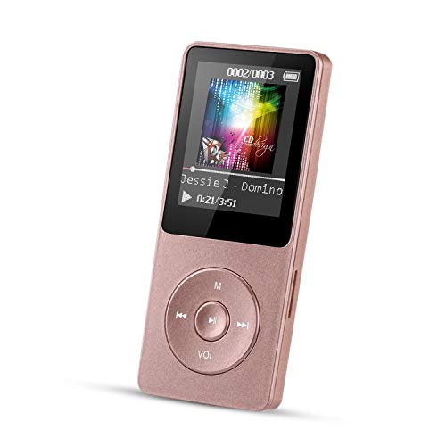 8GB MP3 Player, AGPTEK A02 70 Hours Playback,Music Player with FM Radio/Voice Recorder for Sport, Expandable Up to 128GB, Rose Gold