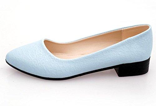 Donne YCMDM'S tacco basso scarpe casual e comode scarpe di colore puro svago singoli , blue , 37