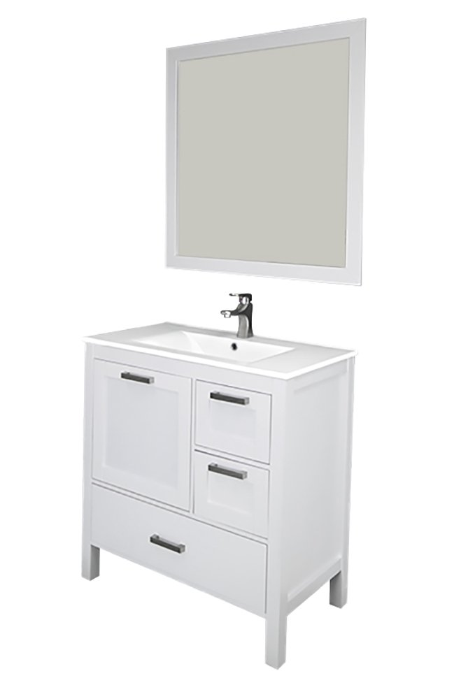 "Siena 36"", white, solid doors, ceramic sink"