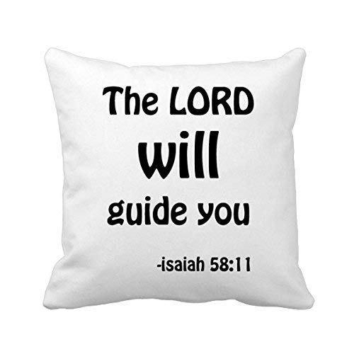 MurielJerome The Lord Will Guide You Christian Square Throw Pillowcase Cushion Cover Home Decor Cushion Cover Home Sofa Decor Gift 18 x 18 inches.