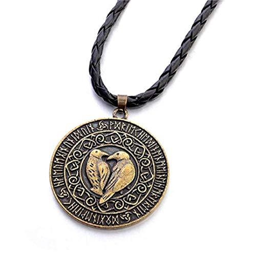 TOPOB Deals Retro Bird Round Gold Pendant Necklace,Men Nordic Scandinavian Viking Bird Amulets Black Leather Necklace ()