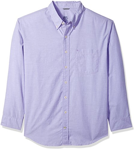 IZOD Men's Oxford Solid Long Sleeve Shirt, Dahlia Purple, 2X-Large (Button Down Rugby)
