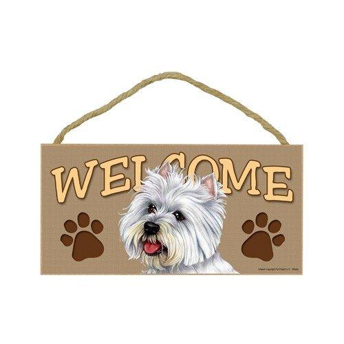 West Highland White Terrier/Westie Wood Welcome Door Sign 5''x10'' ()