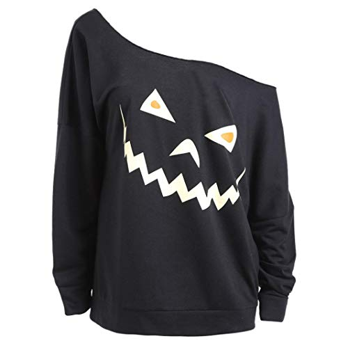 Women Halloween Costume Ghost Pumpkin Sweatshirt Long Sleeve Off Shoulder Top(C,X-Large)]()