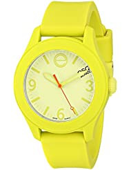 ESQ Movado Womens 07101453 ESQ ONE Yellow Silicone-Wrapped Stainless Steel Watch