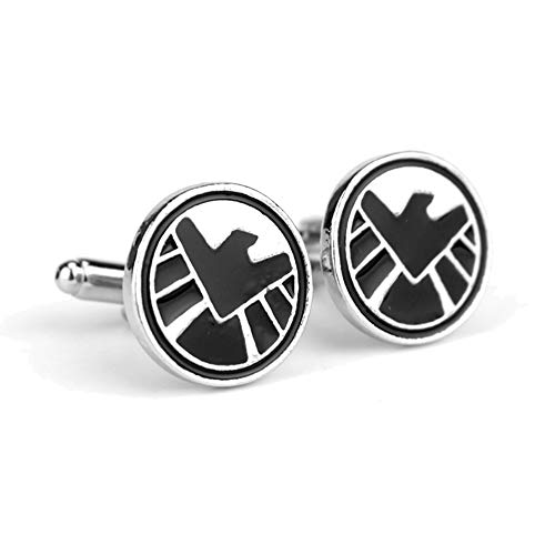 Geek & Glitter Marvel Shield Cufflink Set Box | 12 Styles to Choose from - Silver Cufflinks for Men, Birthday Presents, Comics Merchandise Collectibles, Superhero ()