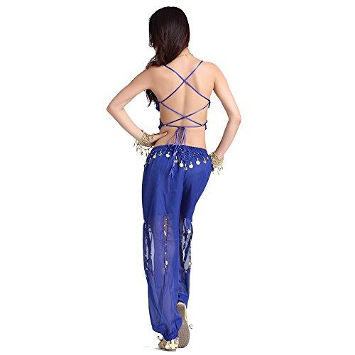 Danza Trajes Dancewear Danza del vientre Disfraz Conjunto Bandage Butterfly Tops & Chiffon Coins Led Open Pants Dark Blue