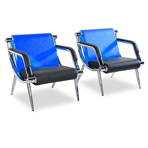 - Bestmart INC PU Leather Office Reception Chair Executive Side Waiting Room Visitor Guest Sofa (Blue, 2)