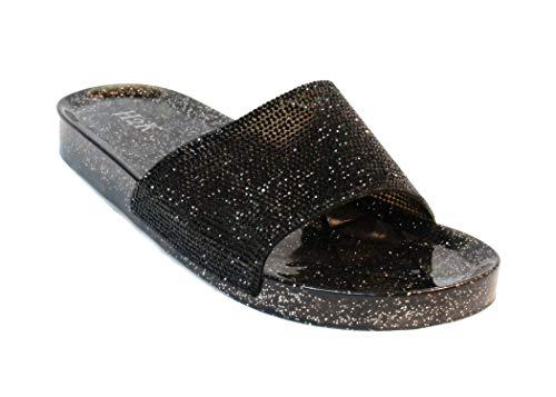 - H2K Women's Crystal with Rhinestone Bling Glitter Open Toe Slide Sandal Flat Jelly Shoes Sunny (10 B(M) US, Black II)