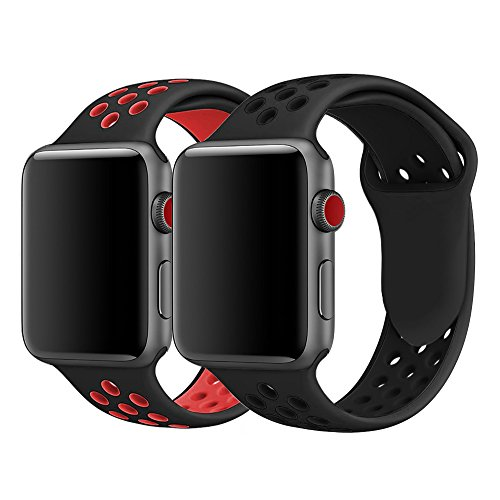 iWatch Band 42mm, KADES Breathable Soft Silicone Replacement Band for 42MM iWatch Series 2 Series 1 Series 3 - Large (2-Pack, Black/Red, Black/Black) by KADES