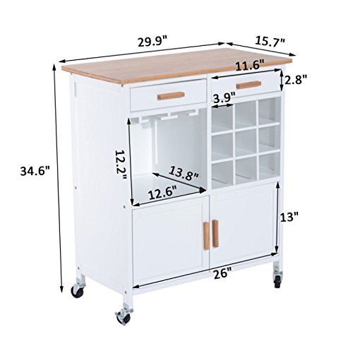 White Rolling Kitchen Island 2 Drawers Storage Cabinet Extra Shelf 9 Bottles Wine Rack Utility Serving Cart Dining Trolley Durable Bamboo Top Board Home Kitchen Furniture Décor Large Storage Space