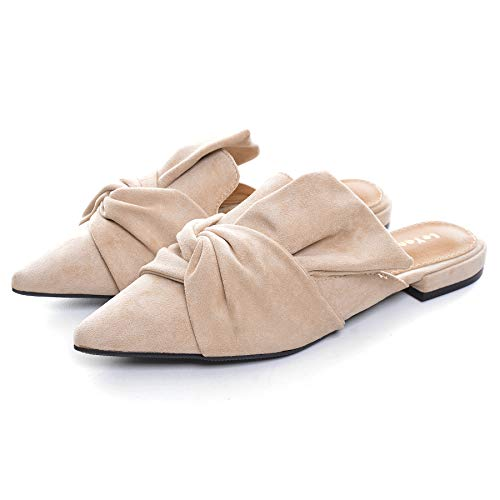 VFDB Women's Bowtie Mule Slippers Summer Pointy Toe Loafers Slip On Flat Shoes Apricot US 7