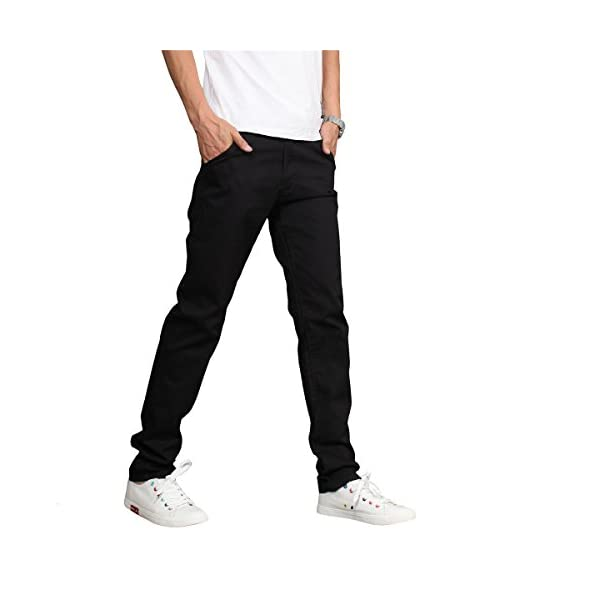 LOGEEYAR Men's Cotton Slim Fit Straight Trousers Flat Front Casual Pants