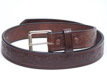 Mens Premium CCW Belt Made in the USA Genuine Leather Wildlife Print - Brown 34 Inch