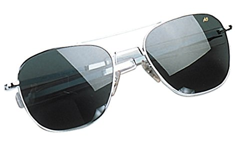 Gray Polarized Lens Silver Frame (AO Original Pilot 52mm Silver Frame with Bayonet Temples and  Color Correct Gray Polarized Polycarbonate )