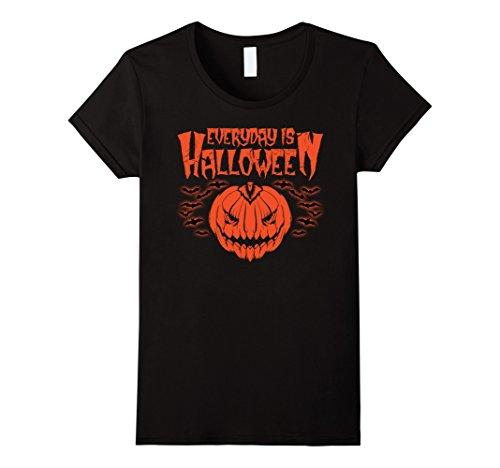 Womens Everyday is Halloween T-Shirt With Rat And pumpkin Medium Black
