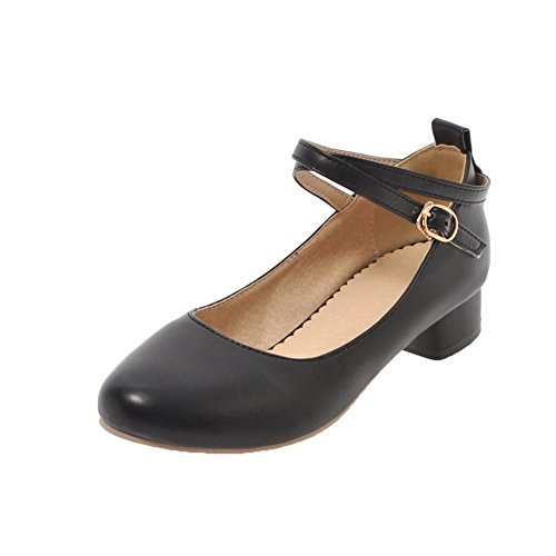 AllhqFashion Heels Low Buckle Pumps Solid PU Women's Round Toe Black Shoes xwHqF7