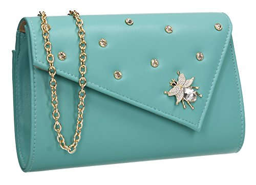 Stud Nylah Celebrity Purse Night Out Bag Evening Turquoise Clutch Ladies Butterfly Wedding SWANKYSWANS Party Prom TR8Hdqq5w