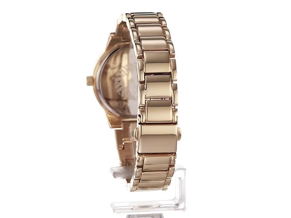 Anne Klein Women's Glitter Accented Gold-Tone Bracelet Watch, AK/3056GNGB