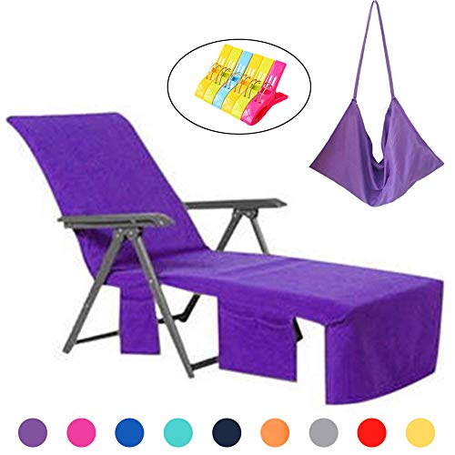 WiseHome Sun Lounger Mate Beach Towel Carry Pockets Bags Holiday Garden Thicker Lounge Purple ()