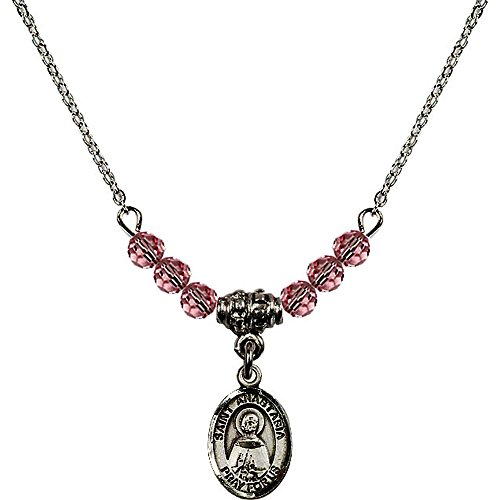 Anastasia 4 Light Pendant (18-Inch Rhodium Plated Necklace with 4mm Light Rose Pink October Birth Month Stone Beads and Saint Anastasia Charm)