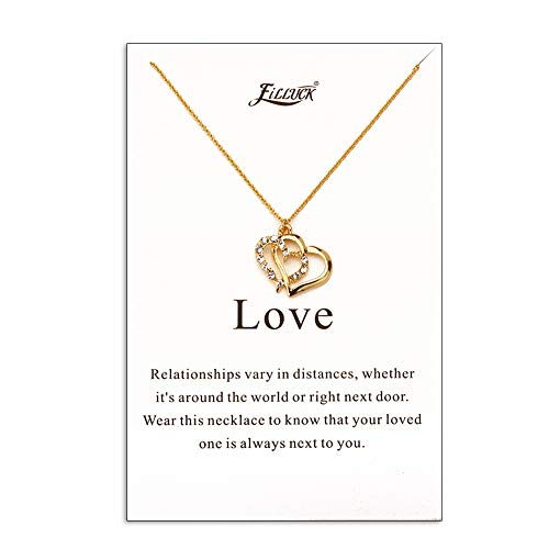 Filluck Open Hearts Necklace Gift for Girlfriend Lover,Crystal Heart ()