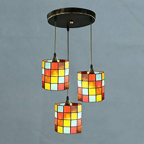 European Retro Tiffany Style Chandelier 3 Light Handmade Mosaic Stained Glass Pendant Light for Bedroom Study Cafe Restaurant,B