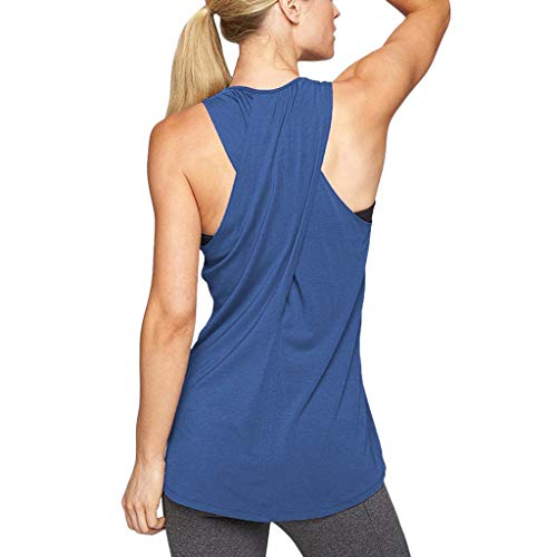 - Beihxwe Women's Cross Back Underwire Sports Bra, Shirts Blouses Active Tank Top (L, Blue)