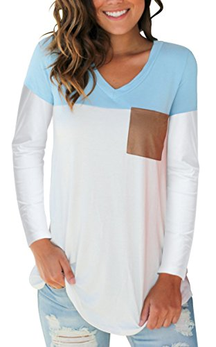 SAMPEEL Casual Long Sleeve T Shirt for Women Suede Pocket Tee Top Blouse Light Blue M (Long Tee Womans Sleeve T-shirt)