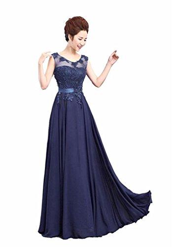 Rohmbridal Women's Scoop Neck Appliqued Lace Evening Dress Size 12 Dark Navy