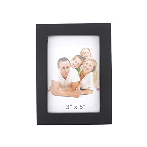 Classic Rectangular Wood Desktop Family Picture Photo Frame with Glass Front (Black, 3X5)