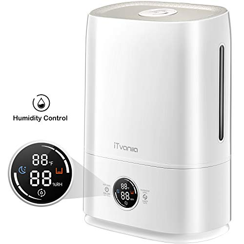 iTvanila Cool Mist Humidifier, 5L Ultrasonic Humidifier for Large Bedroom Home Baby, Automatic Humidity Keeping, LED Display with Humidistat Temperature Display 1.32 Gallon US 110V