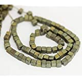 "Jewel Beads Natural Beautiful jewellery 5 Strands Gray Pyrite Smooth Square Box Cube Gemstone Loose Craft Beads 16"" 5mm 6mmCode:- BB-1521"