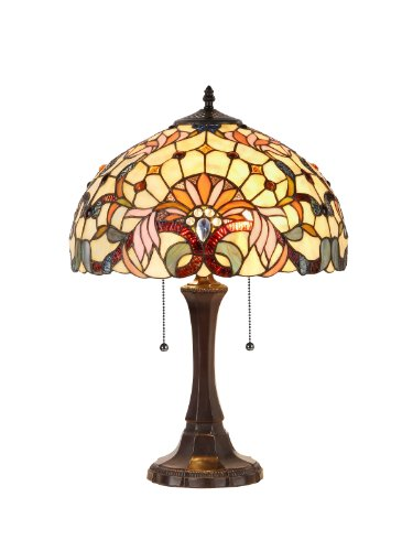 Chloe Lighting CH33361VI16-TL2  Claire Tiffany-Style Victorian 2 Light Table Lamp 16-Inch ()