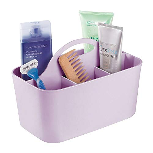 mDesign Plastic Portable Storage Organizer Caddy Tote - Divided Basket Bin with Handle for Bathroom, Dorm Room - Holds Hand Soap, Body Wash, Shampoo, Conditioner, Lotion - Small - Wisteria Purple