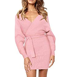 Liraly Party Dresses For Women Fashion New Maxi Deep V Neck Long Sleeve Solid Dress Ladies Mini Party Dress Pink?� Us 4 Cn S